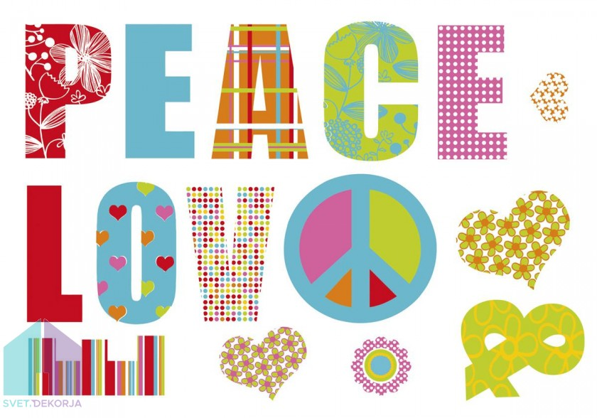 Dekorativna nalepka - Love & Peace