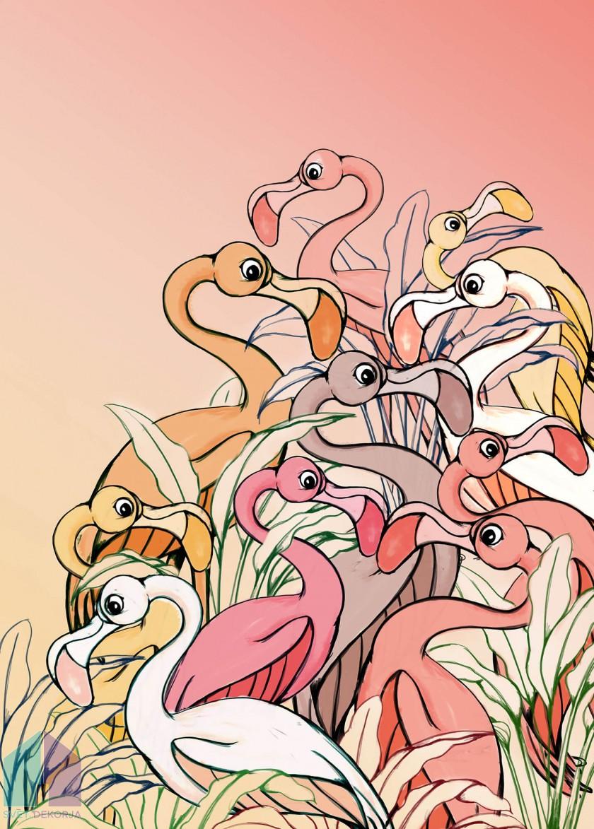 Fototapeta - Flamingos and Lillys
