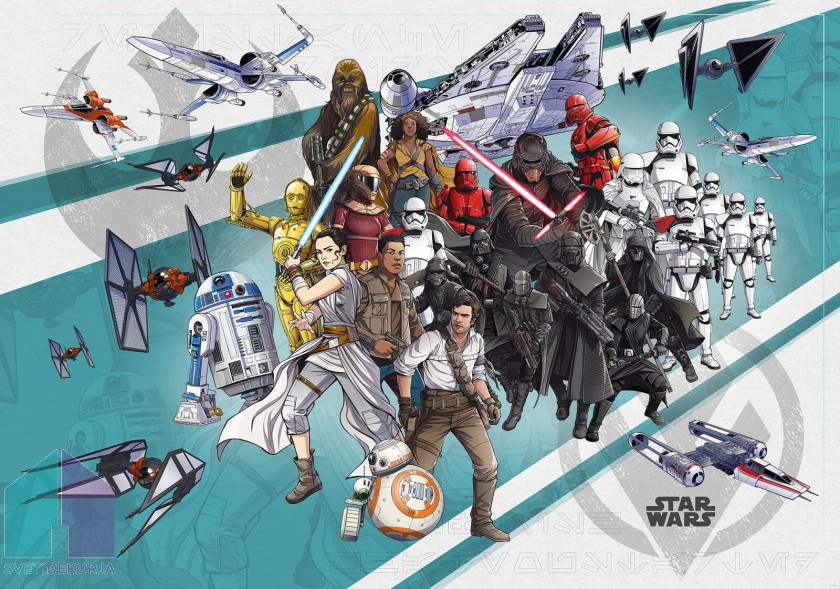 Fototapeta - Star Wars Cartoon Collage Wide