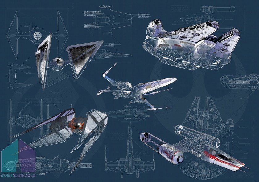 Fototapeta - Star Wars Blueprint Dark