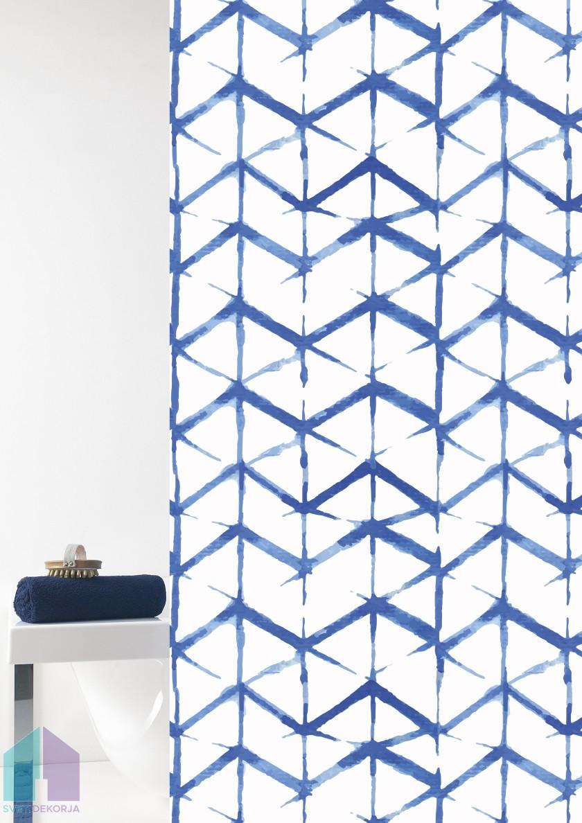 Kopalniška zavesa - Vinil Shibori modra