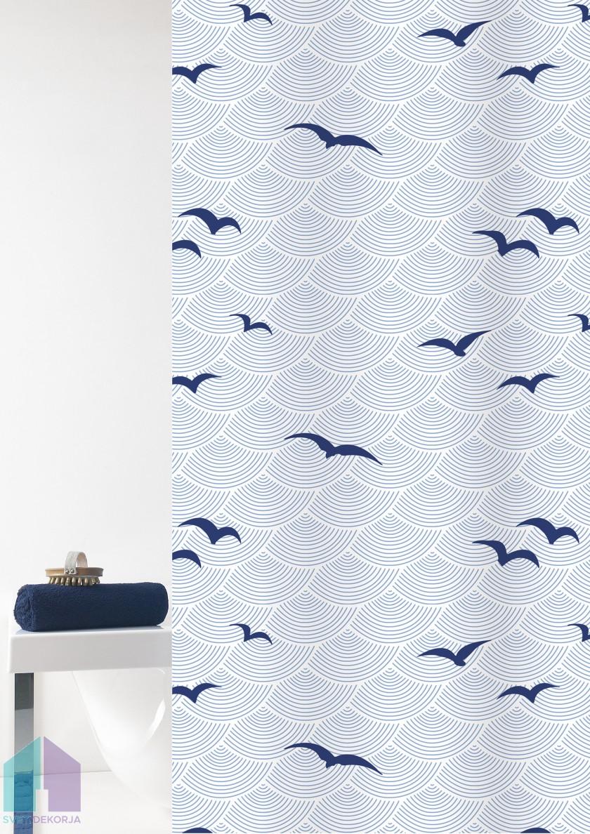 Kopalniška zavesa - Tekstil Shore modra