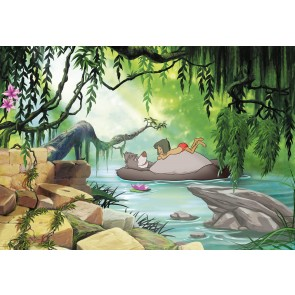 Fototapeta - Jungle book swimming with Baloo